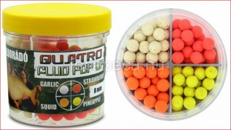 HALDORÁDÓ QUATRO FLUO POP UP BOILIES 8MM 50G  - 2 490,- Ft
